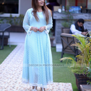 sky blue in combination of white maxi