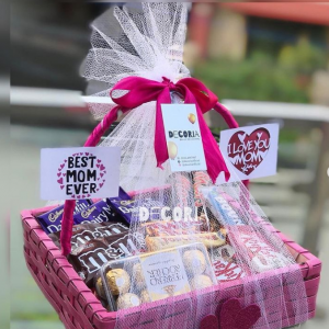 Pink Basket For Mothers' Day